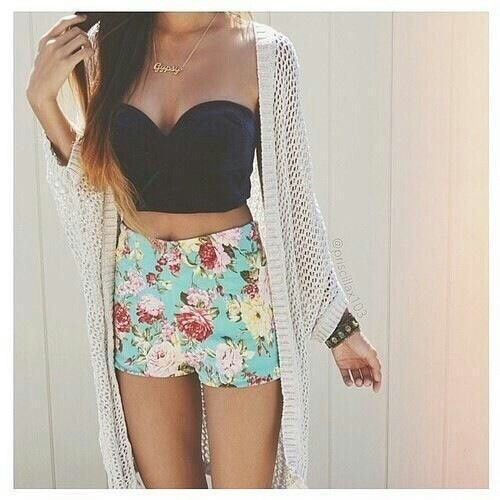 High waisted floral shorts with black crop top