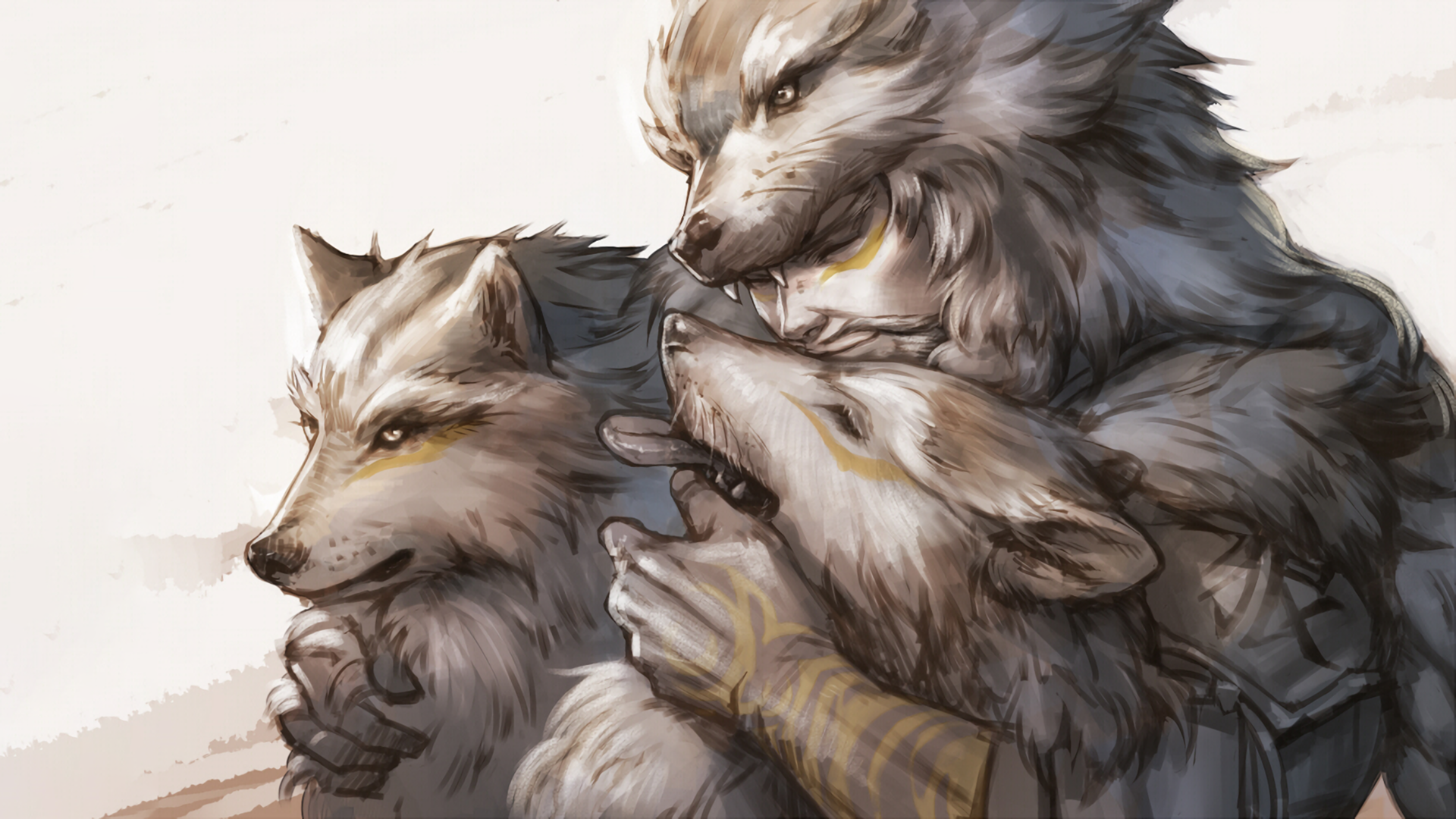 Hanzo with hiswolves 1920x1080 HD Wallpaper From