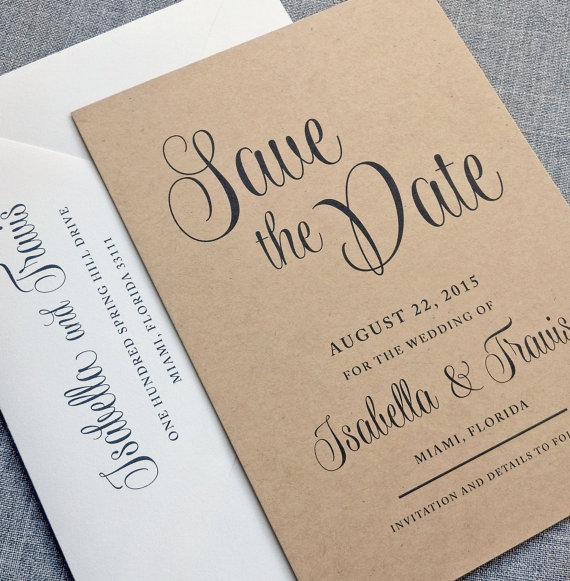 Isabella Script Recycled Kraft Wedding Save The Date Sample
