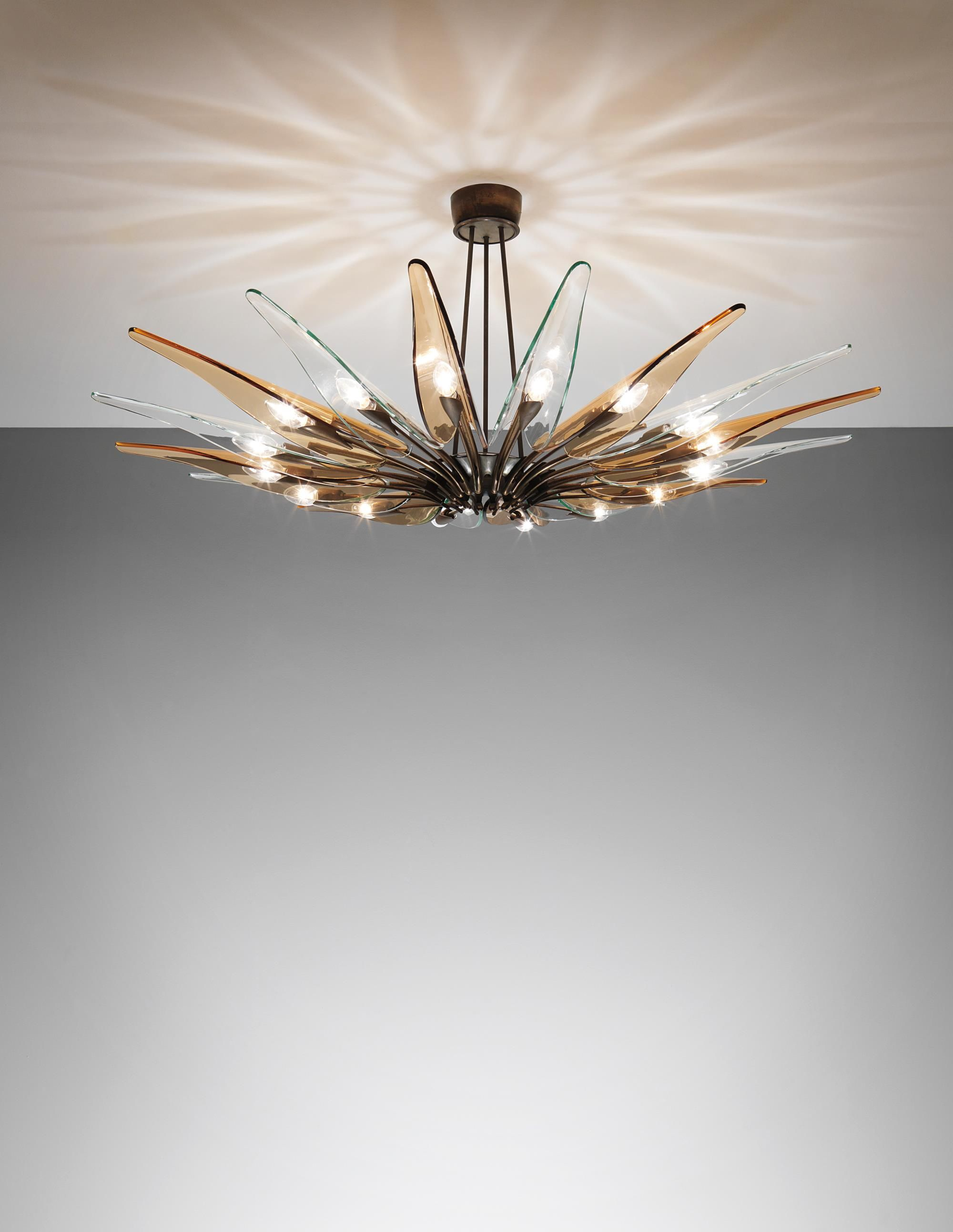 Max Ingrand Dahlia Sixteen Armed Chandelier Model No 1563 Circa 1954 Coloured Glass Clear Glass Tubular Brass Bra Chandelier Clear Glass Colored Glass