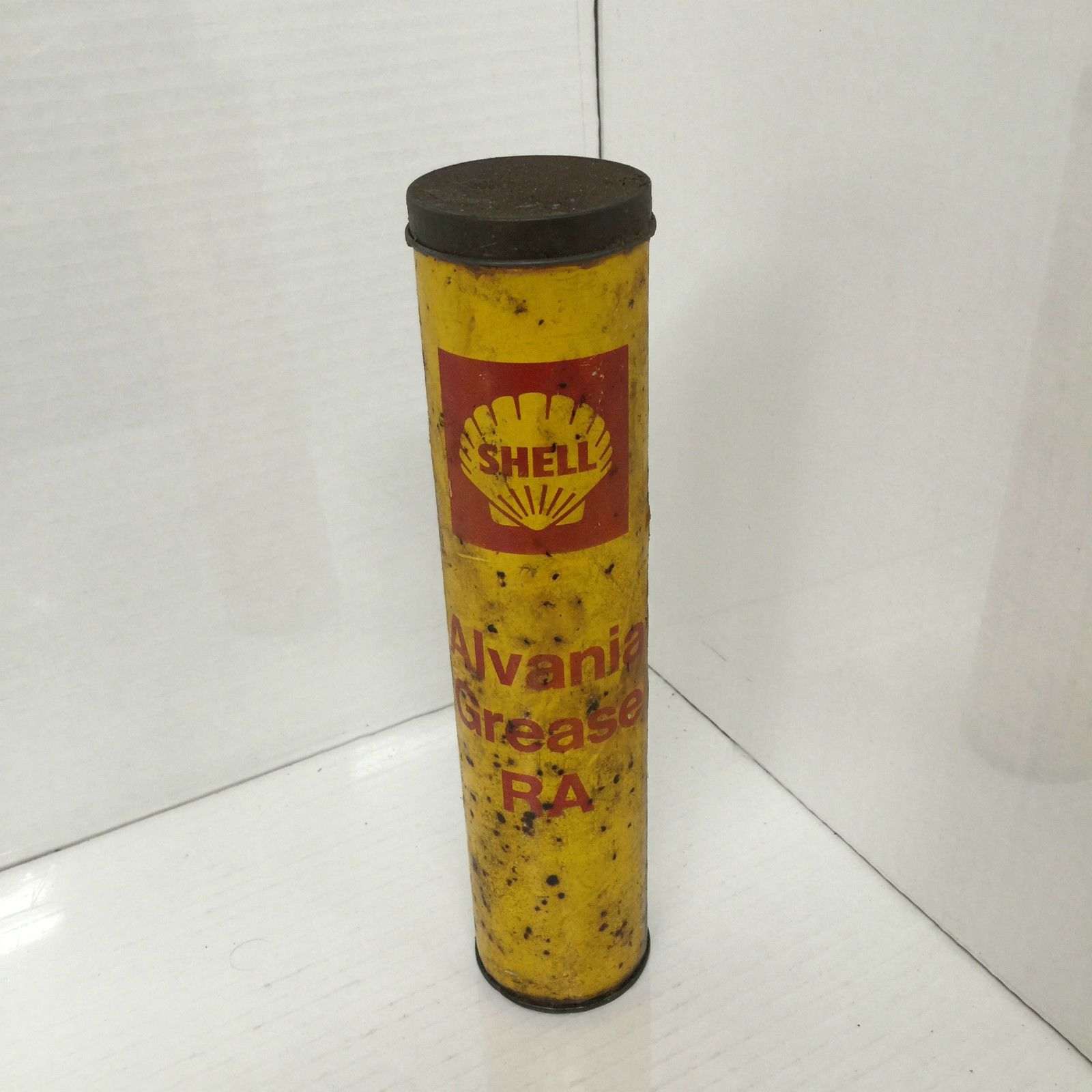 Vintage Yellow Shell Alvania Grease Can  | Old Gas Station