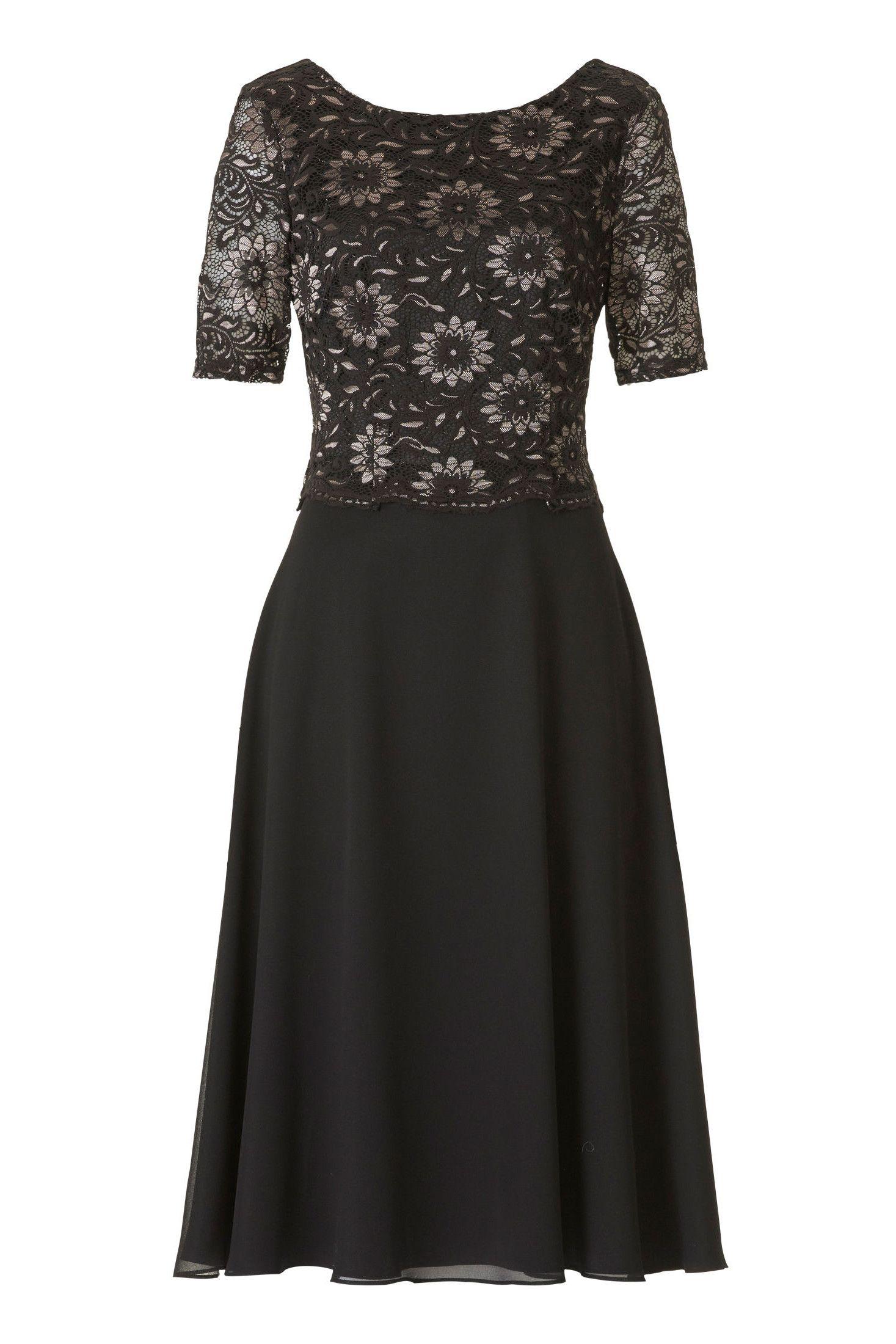 kurzes kleid mit Ärmel schwarz gold vera mont | mode