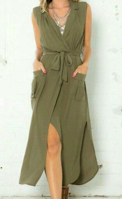 Vestido Largo En Verde Militar Combinar Ropa Mujer Moda Estilo Moda