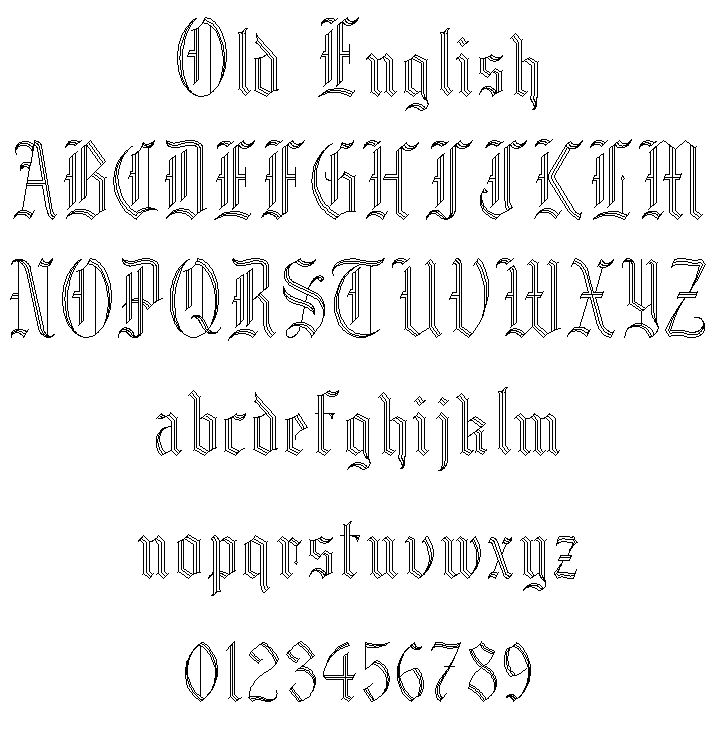 Old English Font.