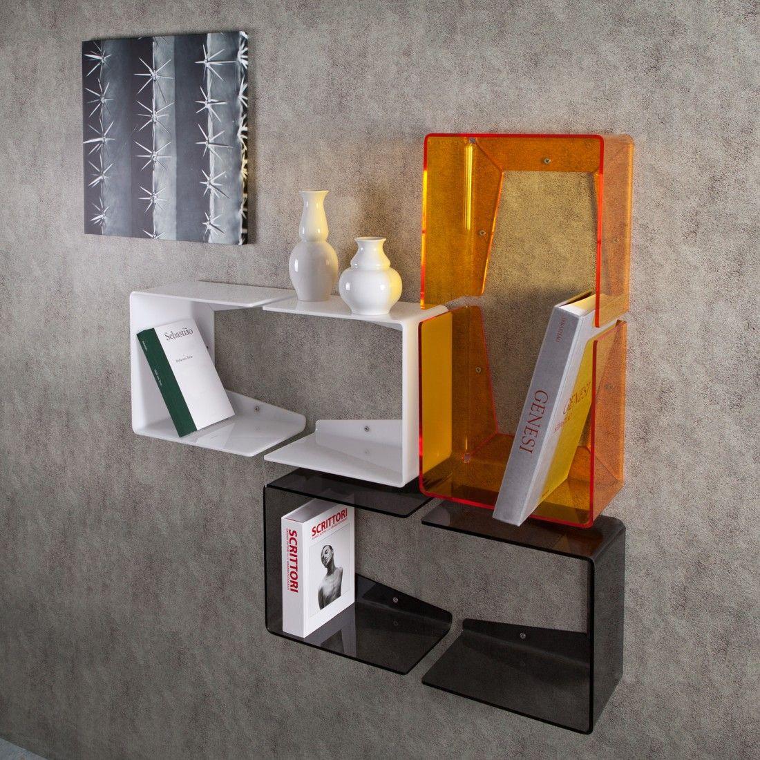 Mensola contenitiva da parete in plexiglass disponibile in quattro colori la confezione - Mobili in plexiglass ...