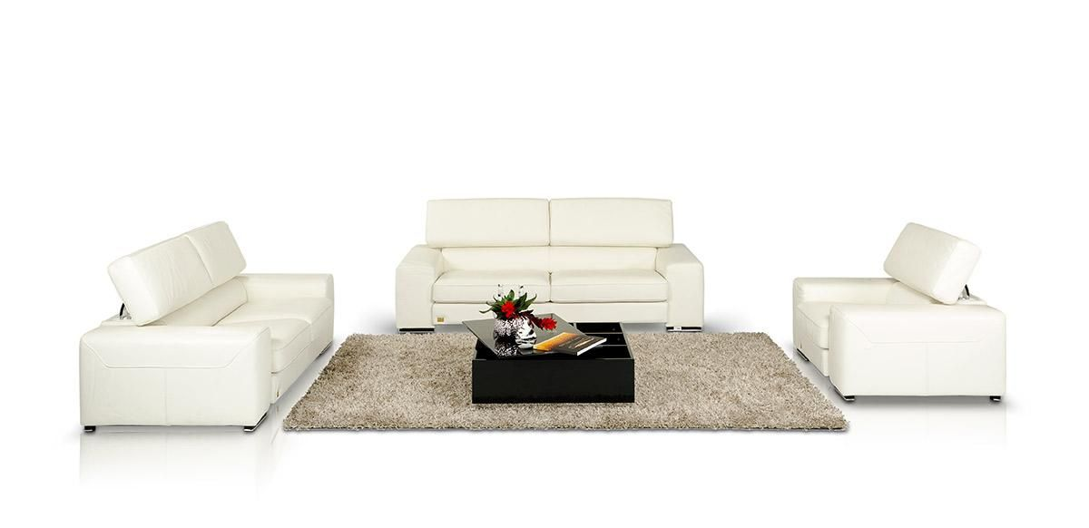 Alonzo- White Leather Sofa Set - Made in Italy | LEATHER SOFA SETS ...