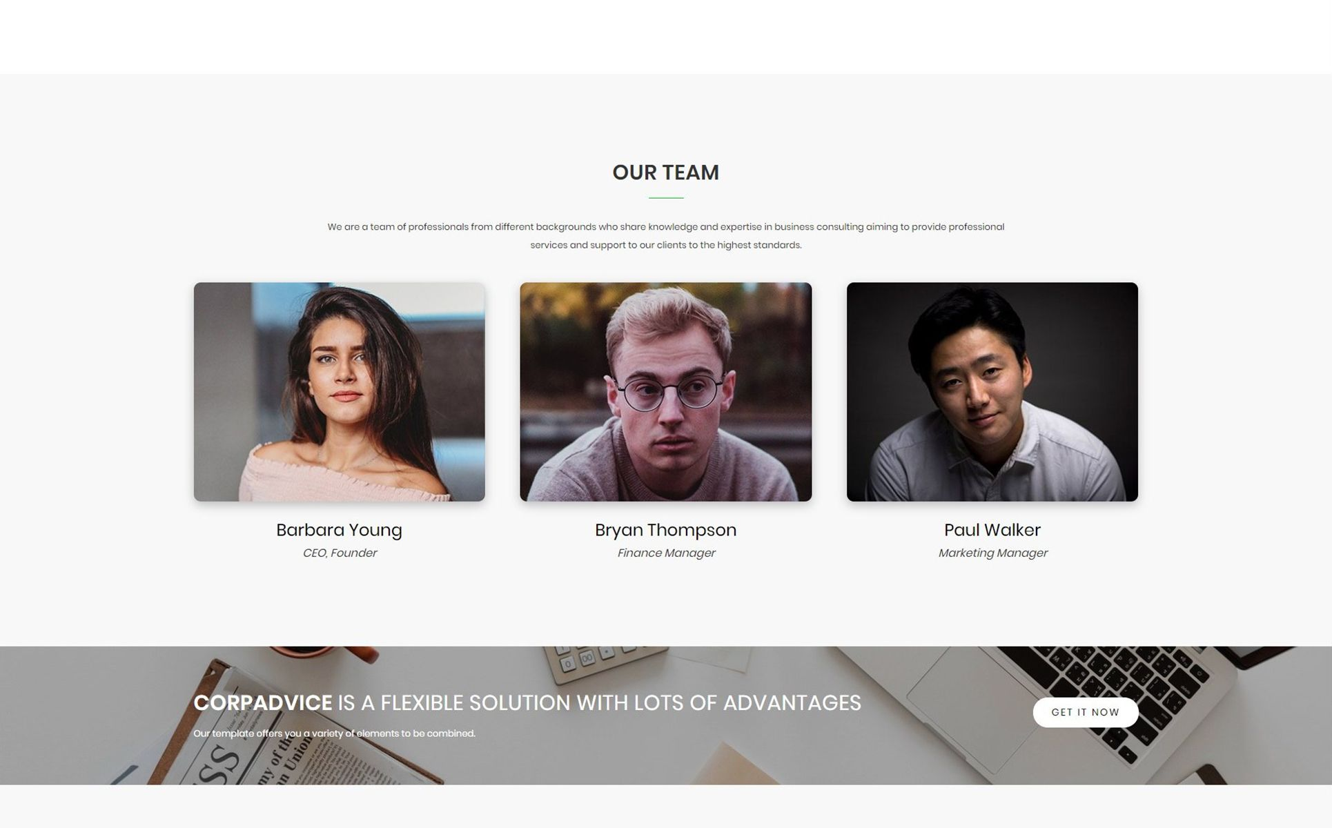 CorpAdvice Fresh Business Consultancy Agency Landing Page Template