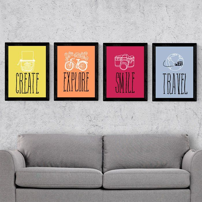 Kit de quadros decorativos create explore smile travel for Conjunto de espejos decorativos