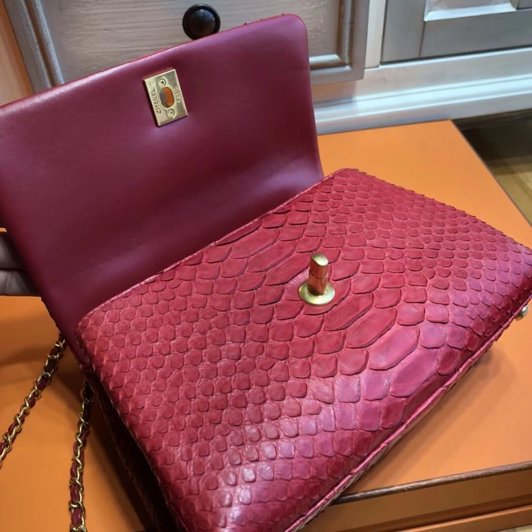 fdb5b700dc37 Chanel Red Python Flap Bag with top handle | Luxur | Pinterest ...