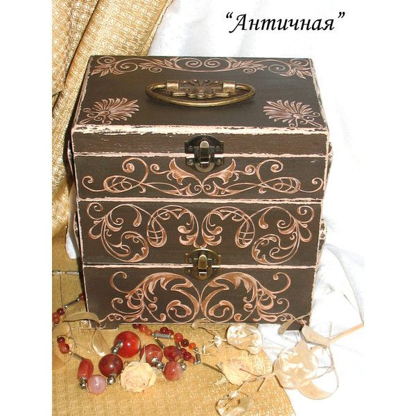 Wood jewelry boxAntiqueSmall chest of drawers Organizer boxBox