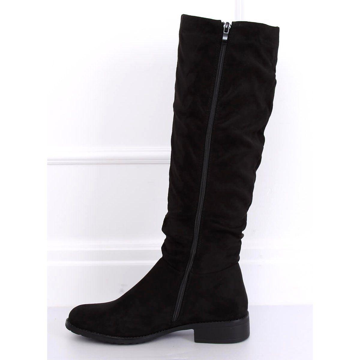 Oficerki Damskie Zamszowe Czarne E9308 Black Womens Suede Boots Boots Womens Knee High Boots