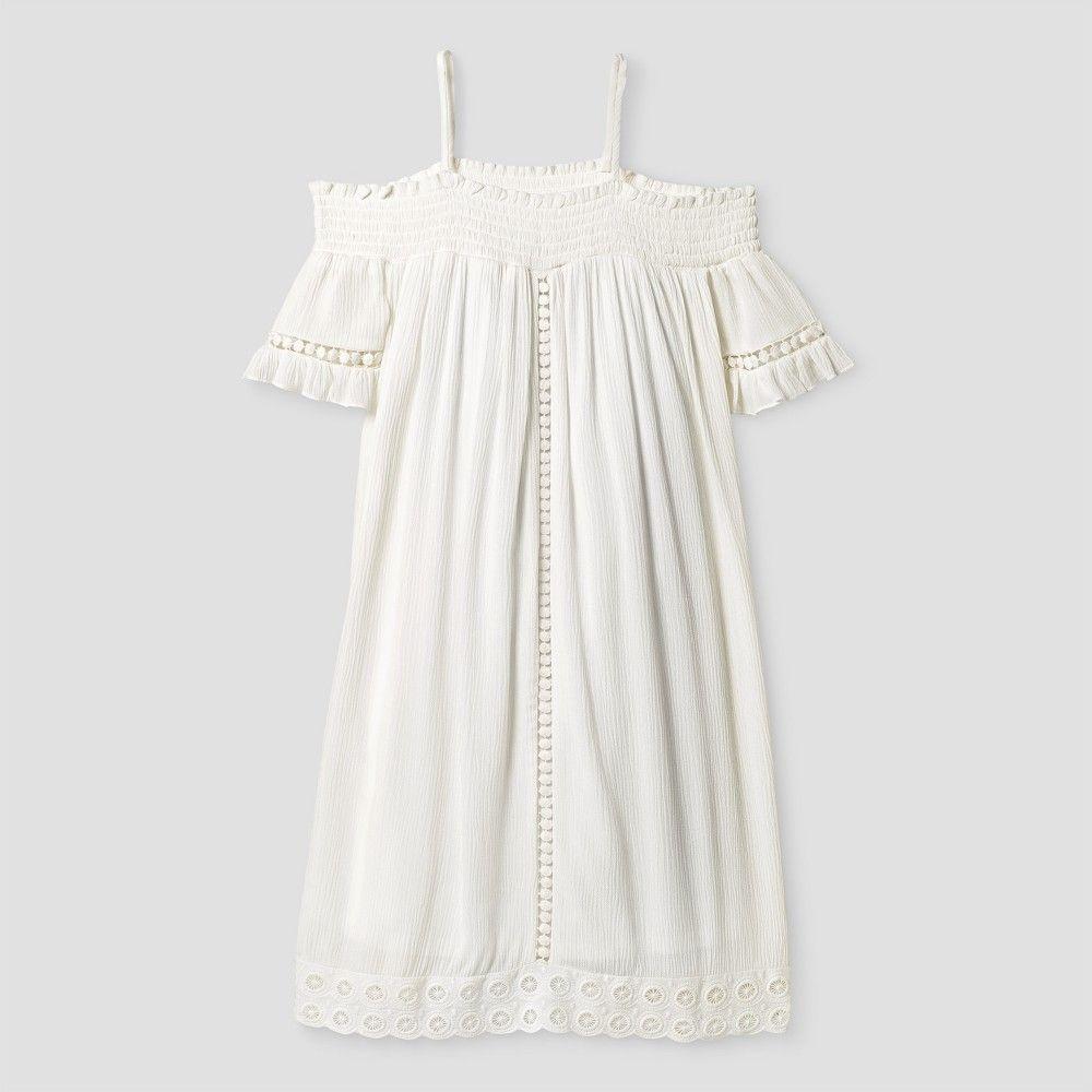 Girls Cold Shoulder Dress Art Class True White Xl Girls Size