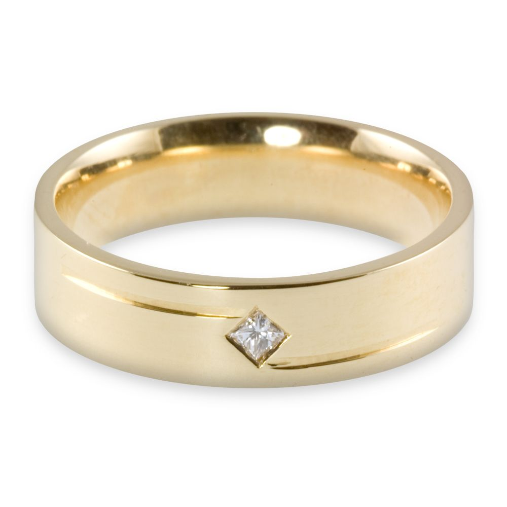 Yellow gold princess cut diamond wedding ring Women Couple Rings