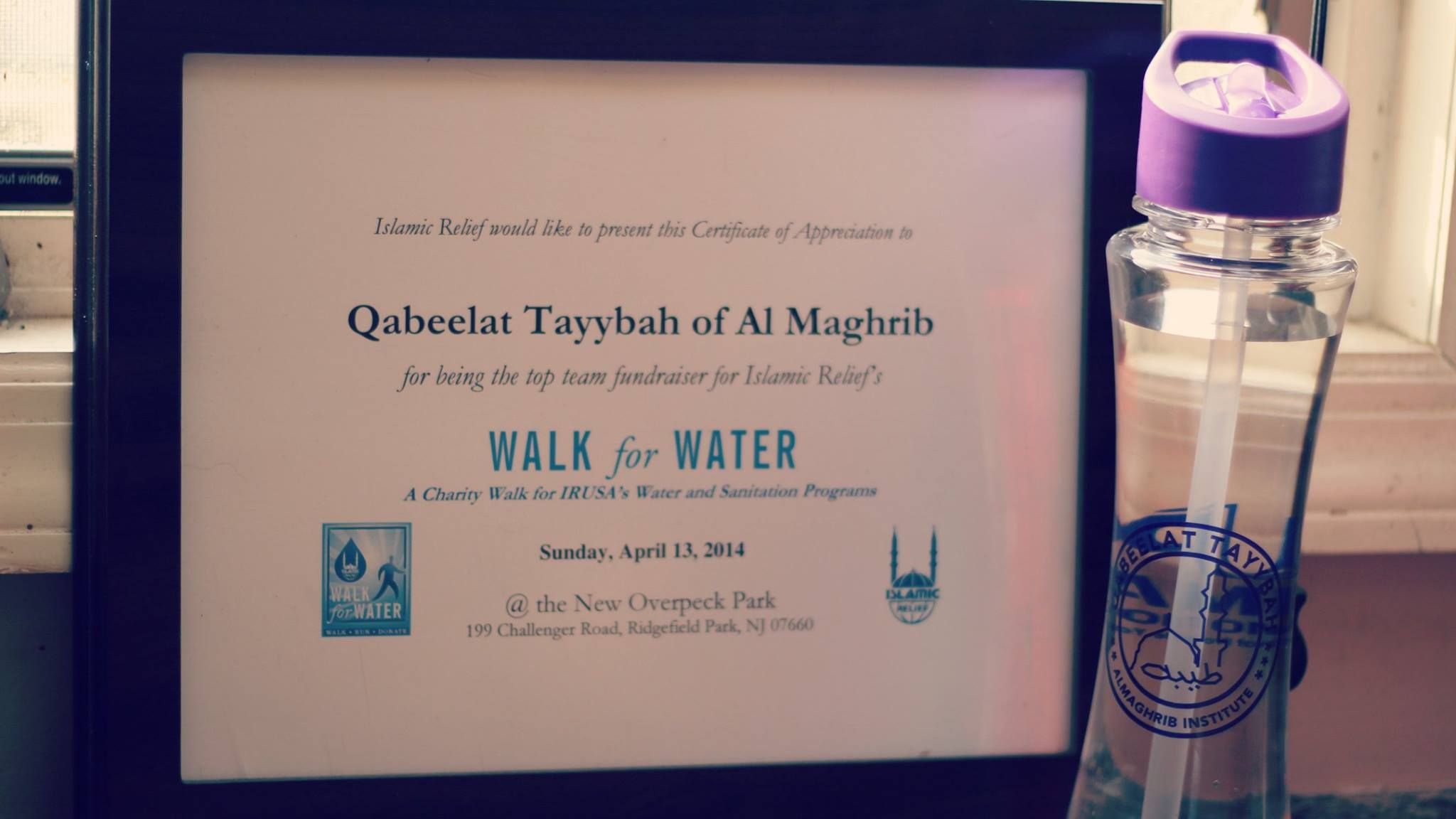 Custom Water Bottle Given Out To Qabeelat Tayybah Of Al Maghrib Team For Walkforwater Irusa Islamicrelief Tritan Bottle Custom Water Bottles Bottle