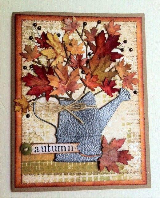 Осенние открытки своими руками из листьев