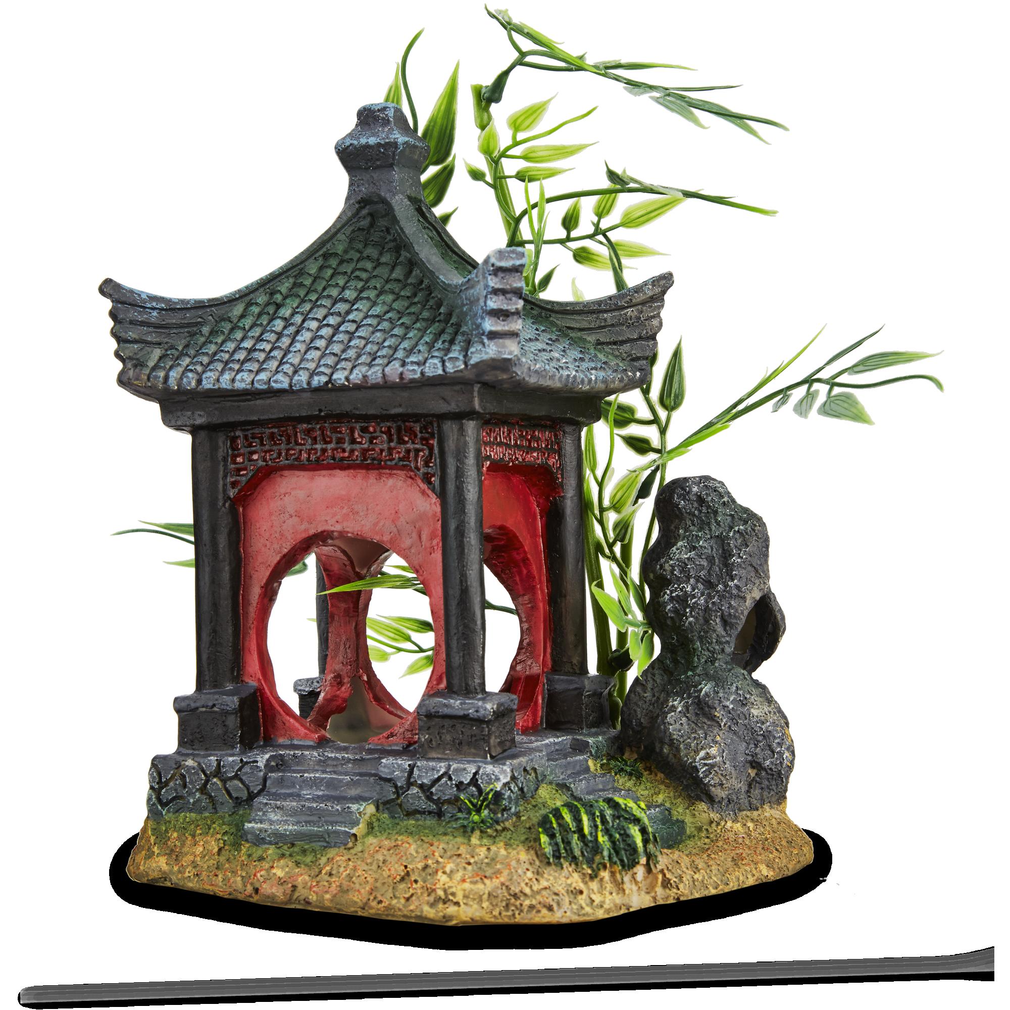 Imagitarium Asian Gazebo With Bamboo Ornament Petco Fish Tank Decorations Betta Fish Toys Fish Tank
