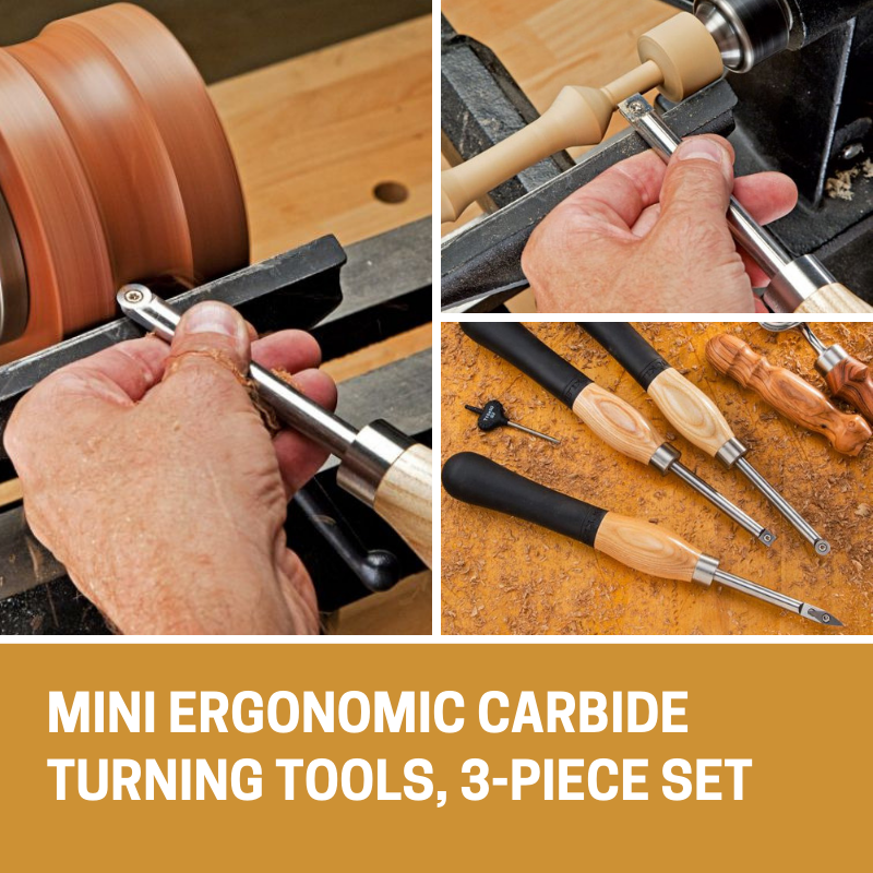 Rockler 3-Piece Mini Carbide Turning Tools 3-Piece Set Woodworking Tools NEW