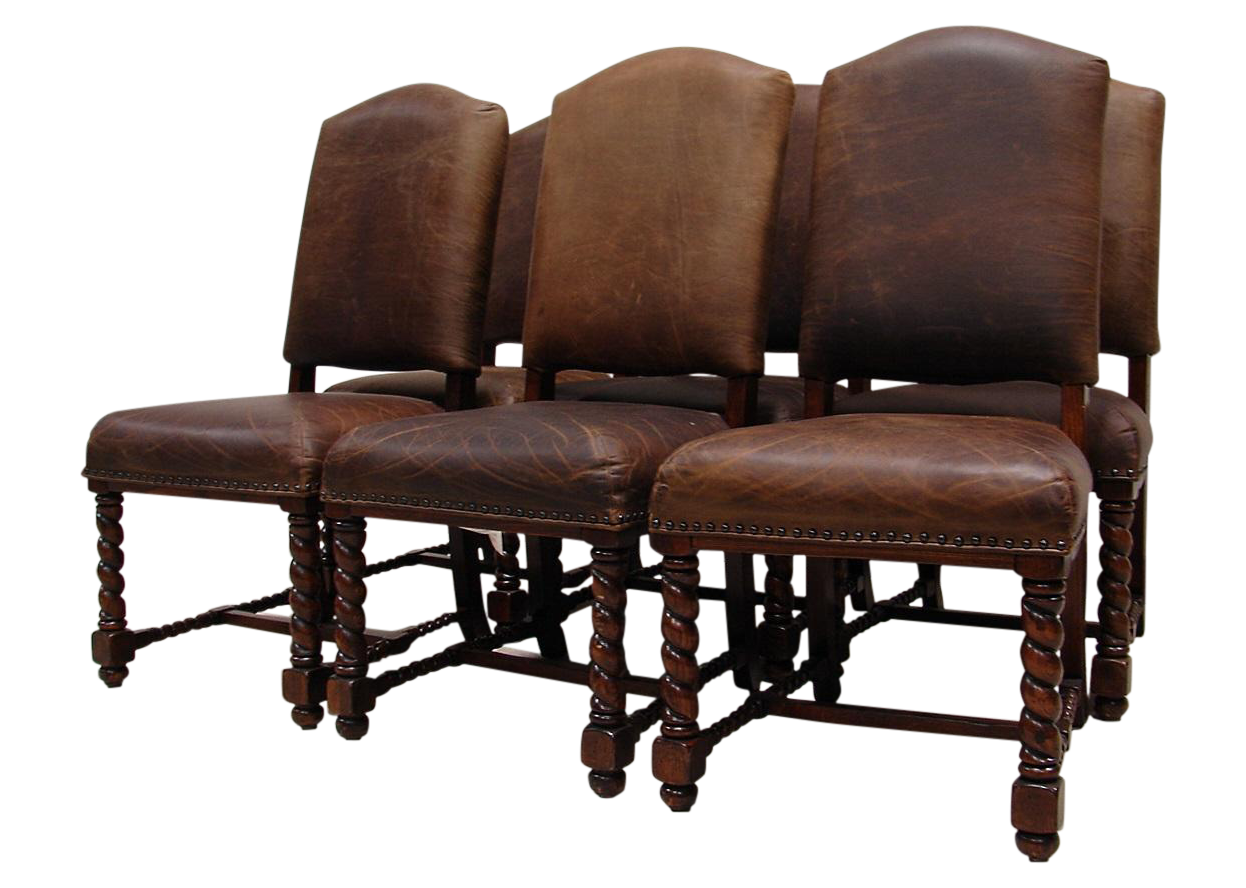 Awe Inspiring Vintage Lane Leather Barley Twist Dining Chair Set On Pabps2019 Chair Design Images Pabps2019Com