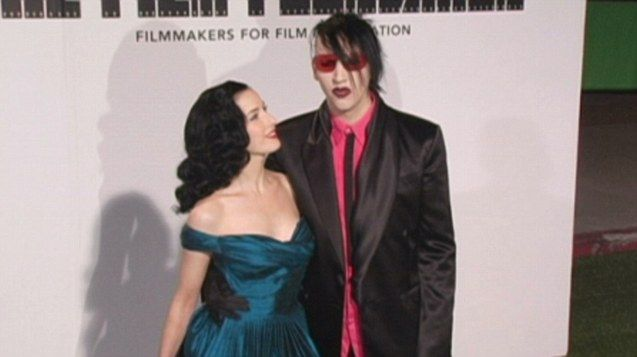 Marilyn Manson on red carpet for Marc Jacobs event with ex-wife Dita Von Teese back in 2005.