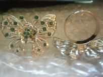 FASHION ADJUSTABLE BUTTERFLY GREEN RING-NEW/FREE SHIPPING