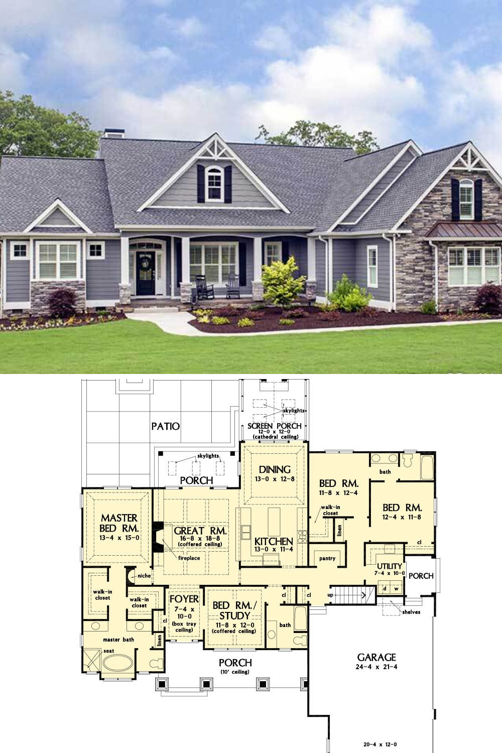 Single Story 4 Bedroom The Lucy Home Floor Plan Craftsman House Plans New House Plans Craftsman House