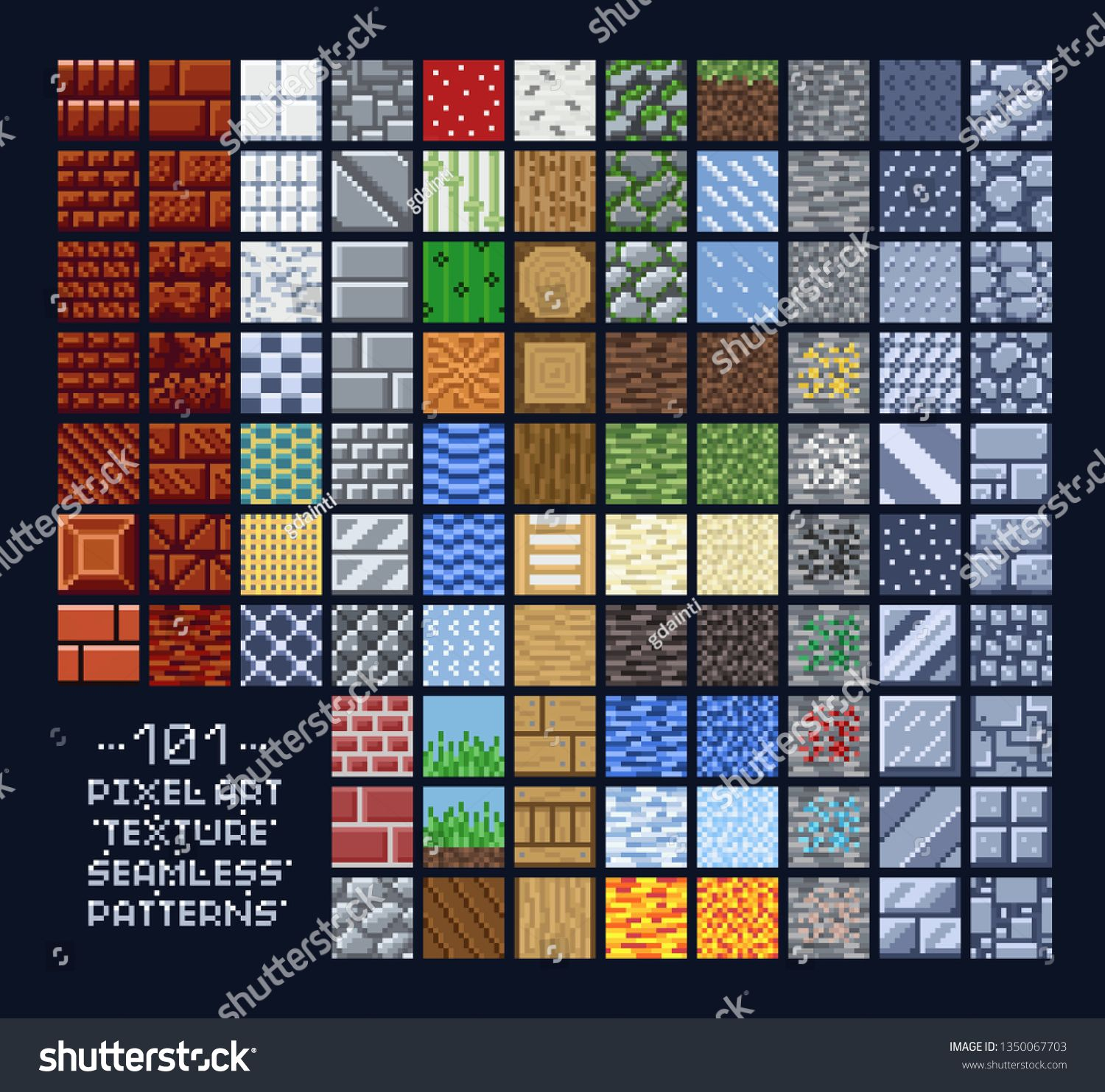 16X16 Tileset pixel art style set of different 16x16 seamless texture