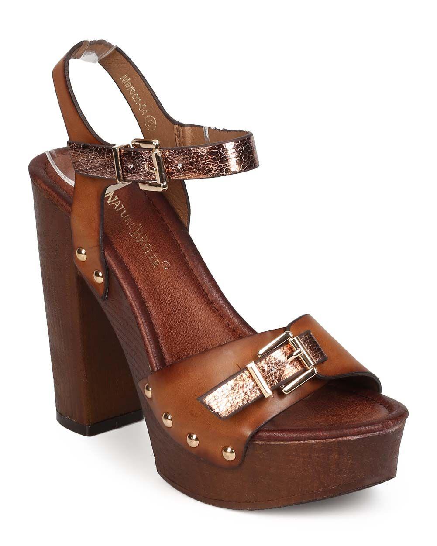 09e1e6ef New-Women-Nature-Breeze -Maroon-04-Metallic-Peep-Toe-Stud-Wood-Heel-Clog-Sandal