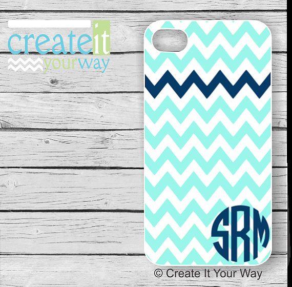 Monogrammed iPhone 5s Case  Aqua Chevron with by CreateItYourWay, $19.99