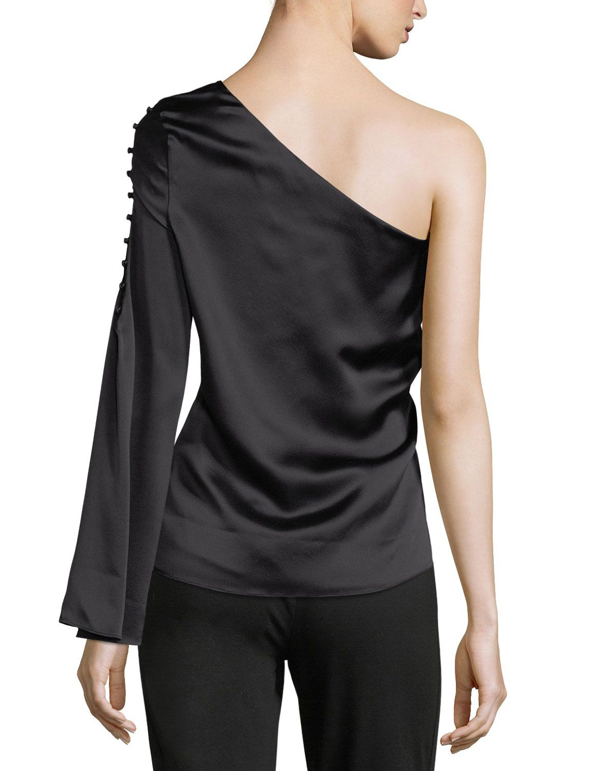 6e3d568ec42c8b Parker Ripley One-Shoulder Silk Blouse