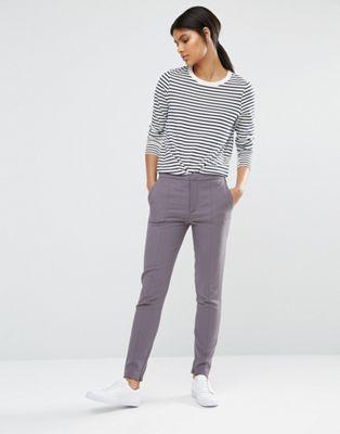 Серые брюки скинни Selected Muse
