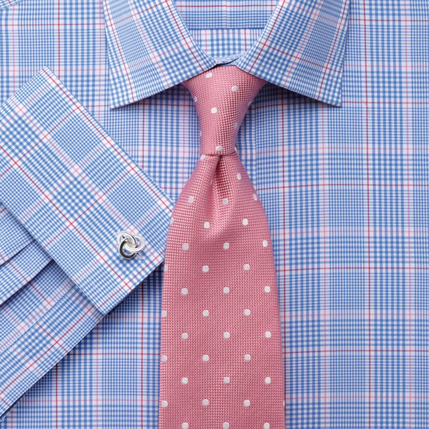 Pink Blue Prince Of Wales Check Slim Fit Shirt Men 39 S