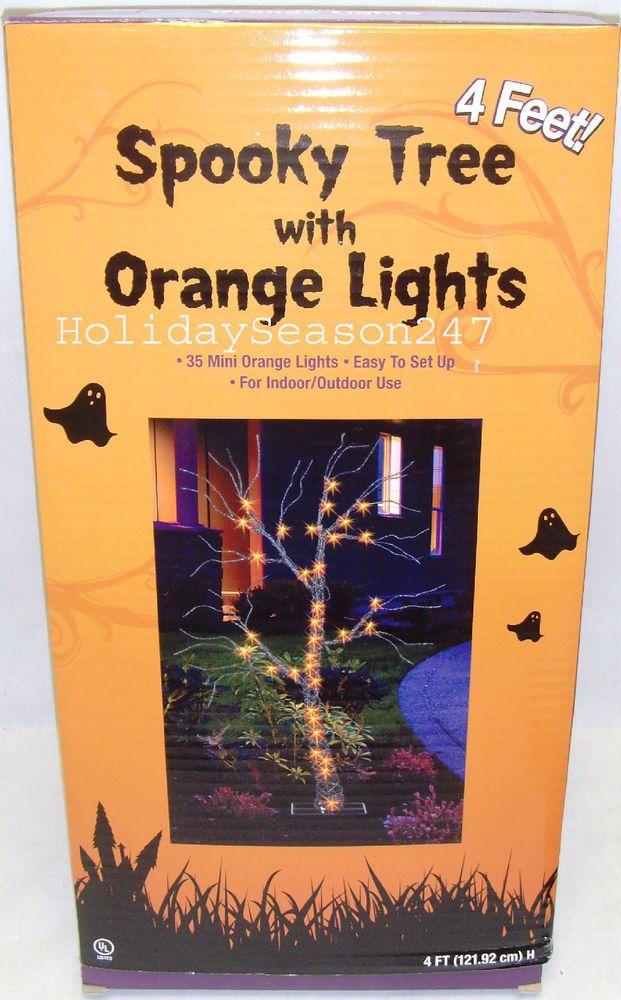 4ft Y Tree W Orange Light Holiday Lighted Yard Display Decor Prop Livingsolution