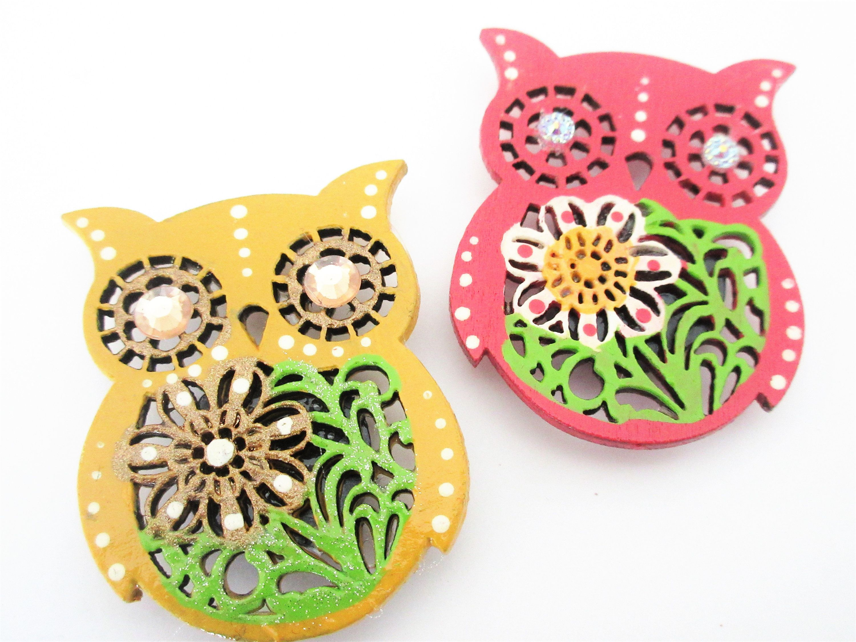 Owl Magnets Owl Decor Handpainted Magnets Painted Home Decor Kitchen Decor Owl Kitchen Small Gift Ideas Colourful Kitchen Decor Owls Floral Magnets Owl Decor Small Business Gifts