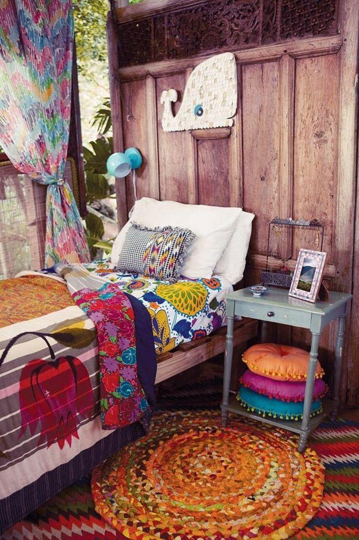 Decoration Boheme Rideaux Multicolore Tapis Orange Rond Murs En Bois Design D Int Rieur