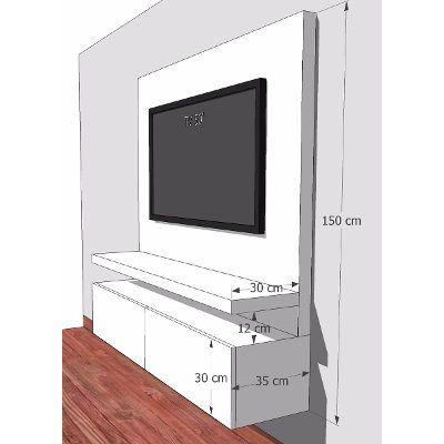 Mueble para tv flotante en madera lacada ref mural51 - Muebles de madera modernos ...