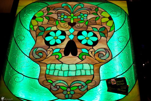 Stained Glass Skull | Glass, Mosaics and Wind chimes
