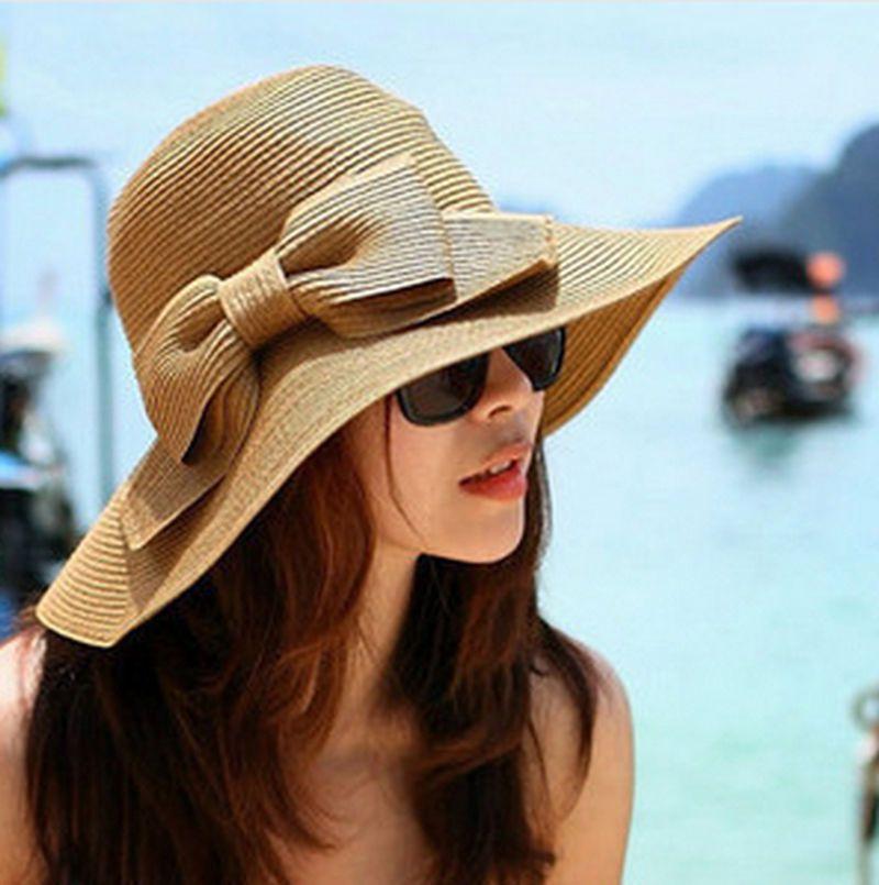 Girls Large Wide Brim Beach Hat//Ribbon Straw Hat//Summer Beach Sun Hat