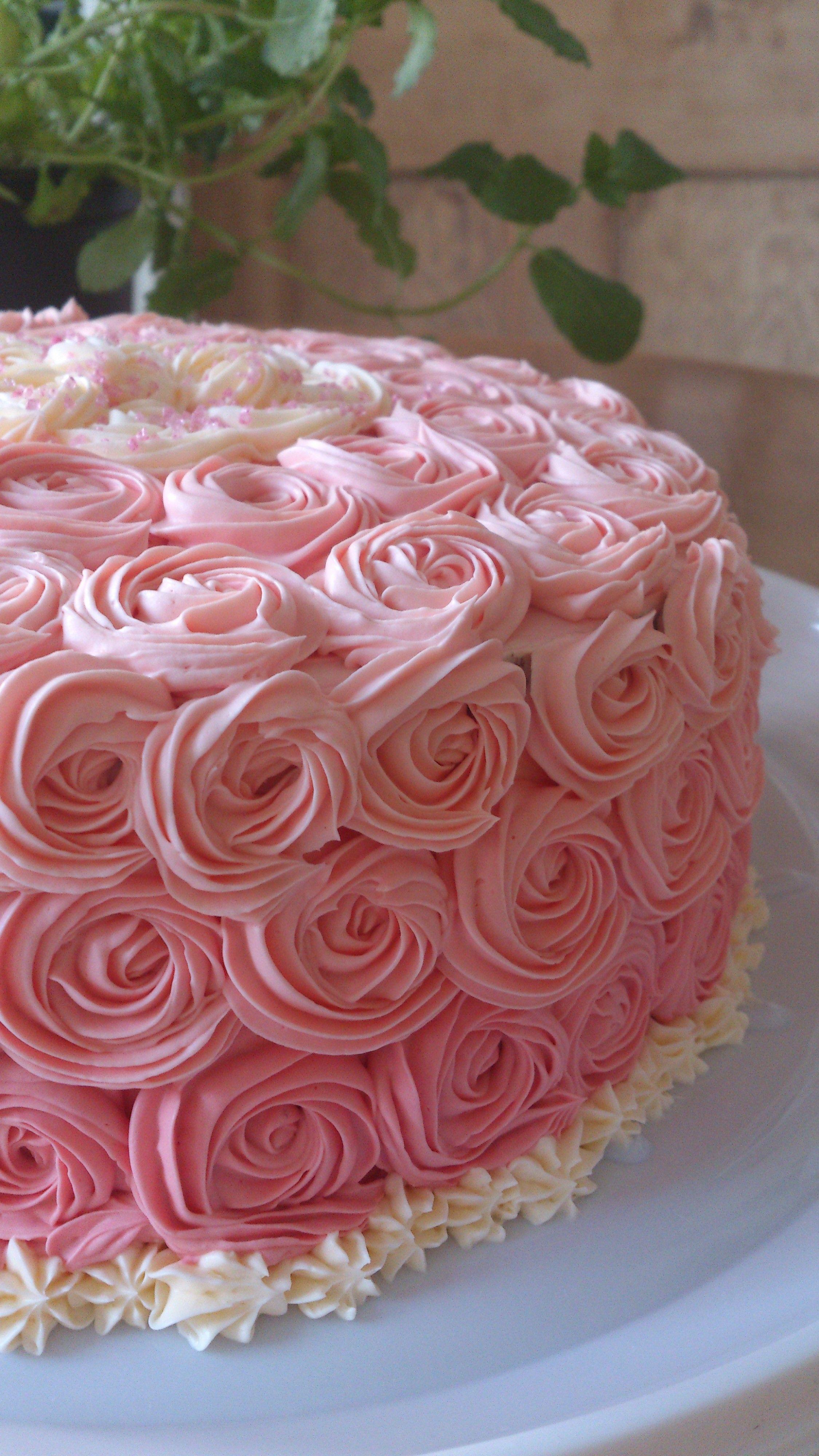 Pink Rose Cake For Birthday 8 Inch Round Birthday Cakes
