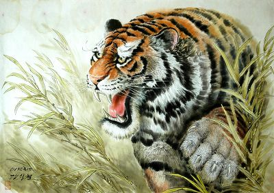 (North Korea) Tiger by Gang Hak-cheol (1974-   ).