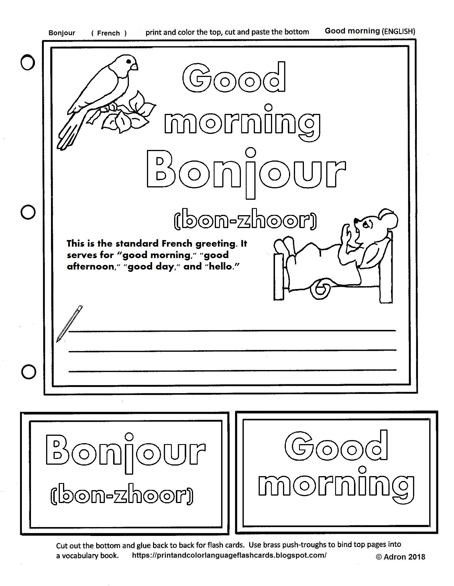 Print And Color Language Flash Card For The French Word Bonjour