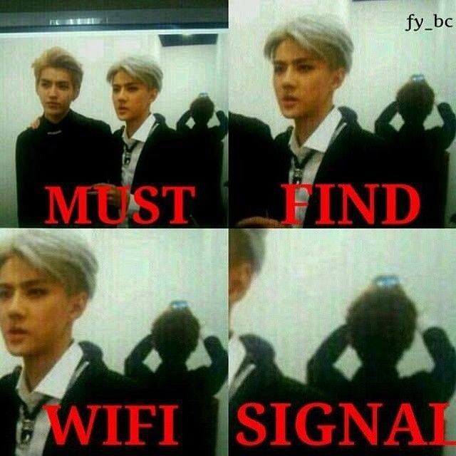 Trying to find a wifi signal in a bad area: I think we can all relate to this :P