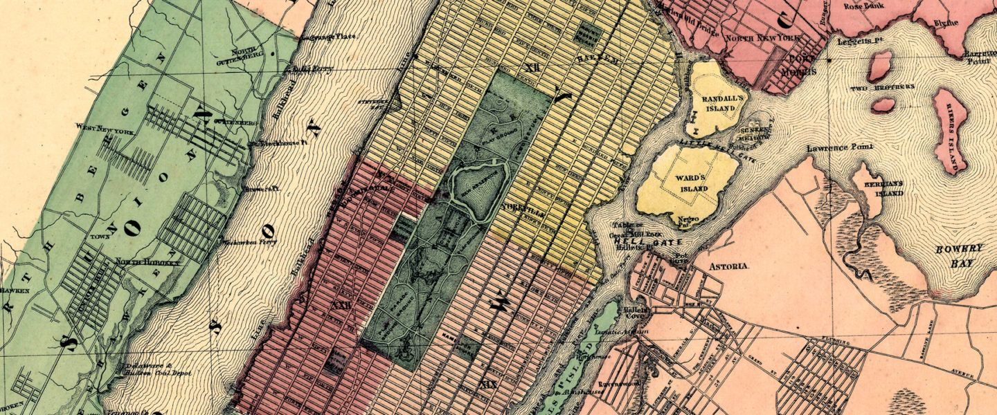 Plan Of New York And Brooklyn  Rollout Vintage Map Newyork - Nyc map wallpaper