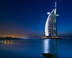 One of the many crazy futurisitc looking buildings in Dubai. This one is known as the Burj-Al-Arab hotel.