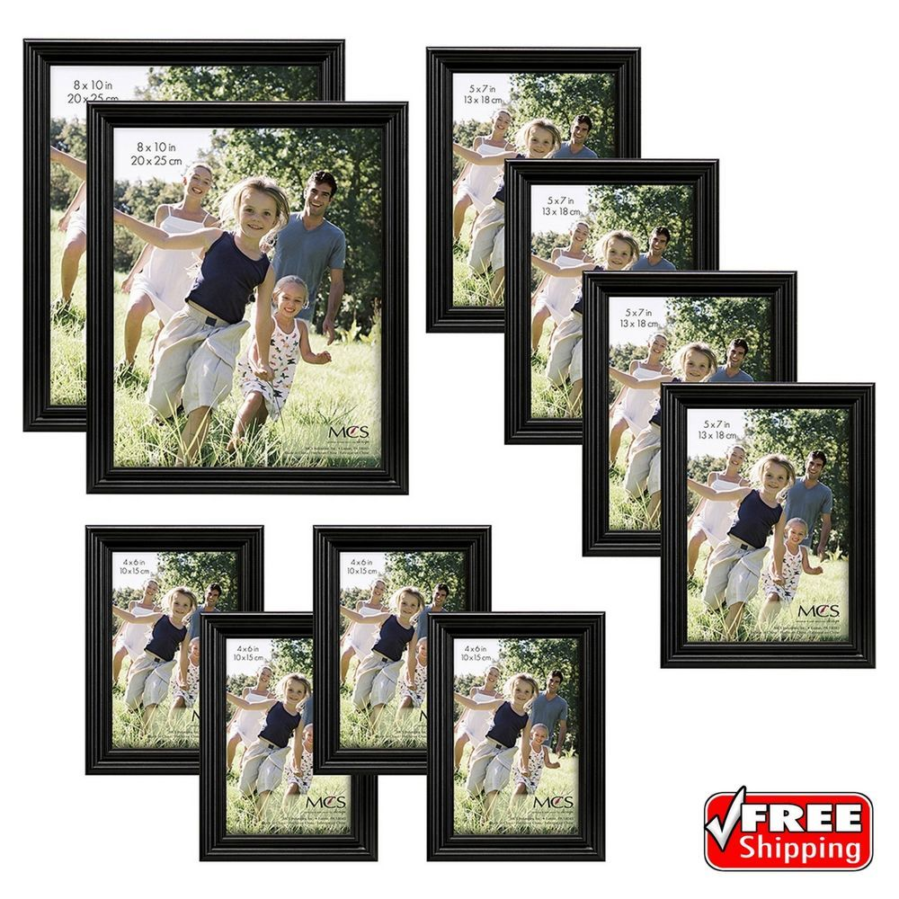 10 Piece Traditional Black Wood Picture Photo Frame Set Bundle Wall