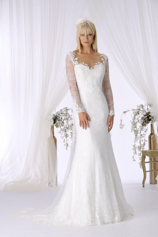 Brautkleid mit Ärmel, Rückenausschnitt Fishtail Vintage. Top mit