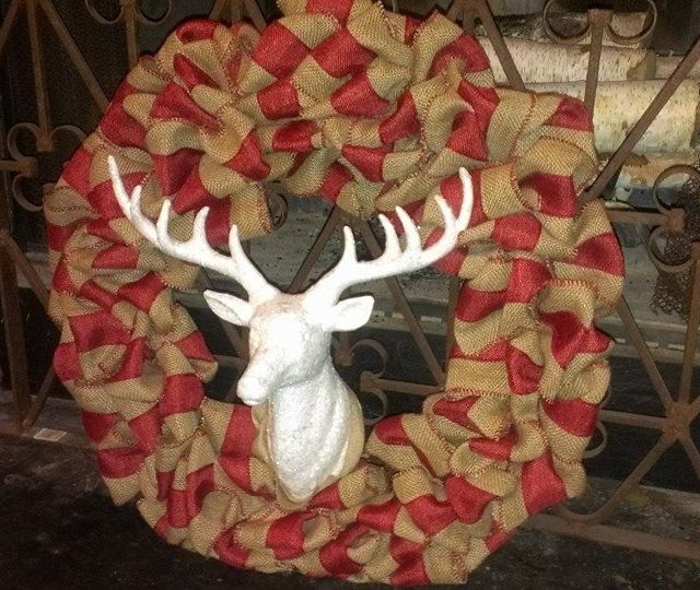 Burlap Wreath Pottery Barn Ribbon Deer Head From Nell