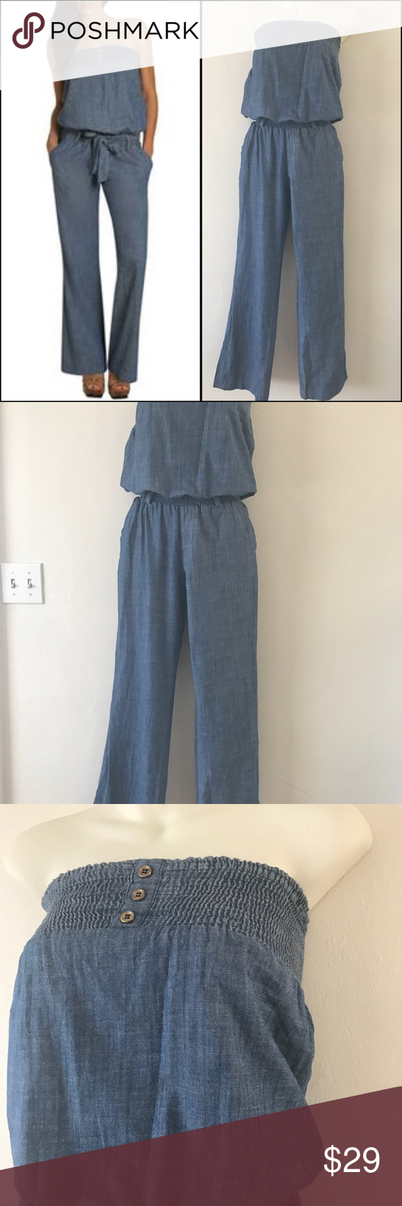 fc97badd0ad Arden B Chambray Jumpsuit Size small in excellent condition. Elastic bands  at top of chest