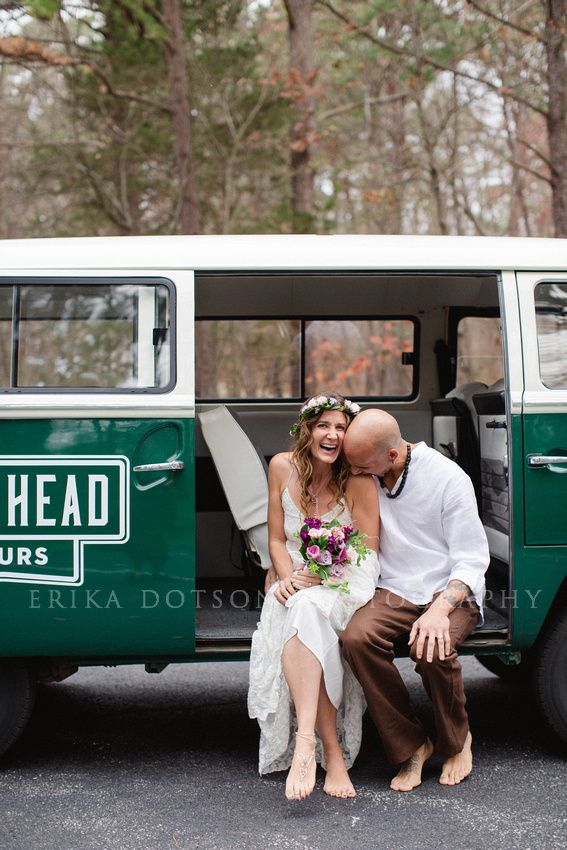 VW Bus Wedding Photography in Northwest Arkansas | Mildred B. Cooper Memorial Chapel | Hoghead Tours  http://www.erikadotsonphotography.com/blog/2016/1/tara-and-james-bella-vista-wedding-at-cooper-chapel