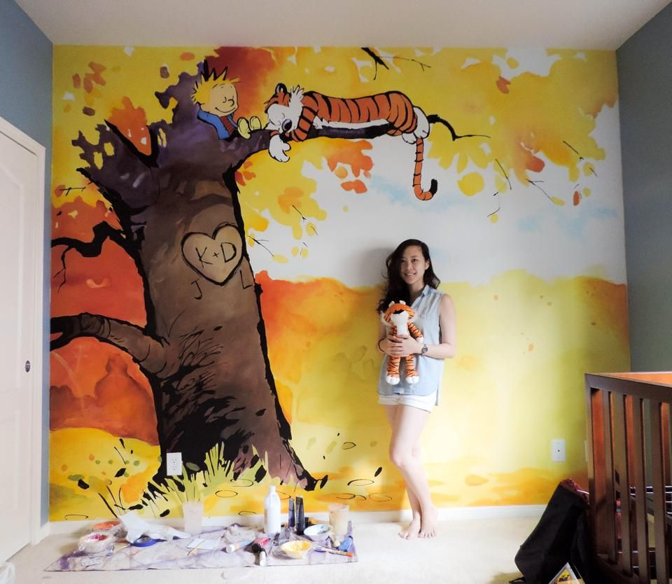 My friend and her mural she just painted for a newborn\'s nursery ...