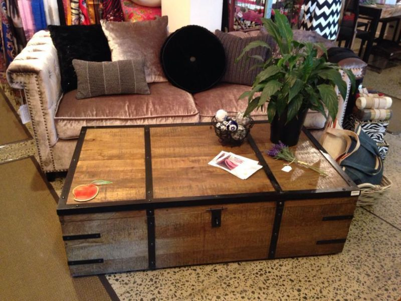 trunk box coffee table solid mango wood metal in redfern dining